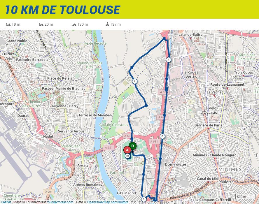 parcours 10 km de toulouse - 2020