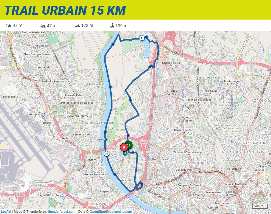 Parcours de l'urban trail 15 km